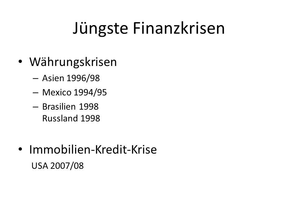 Jüngste Finanzkrisen Währungskrisen – Asien 1996/98 – Mexico 1994/95 – Brasilien 1998 Russland 1998 Immobilien-Kredit-Krise USA 2007/08