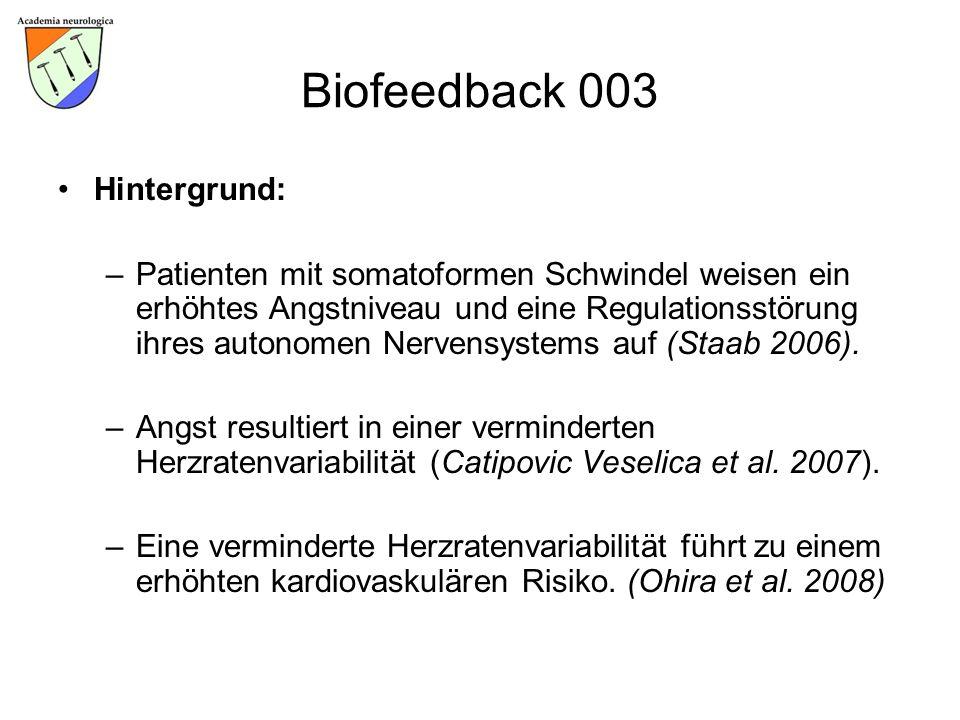 Biofeedback 003 Hintergrund: –Patienten mit somatoformen Schwindel weisen ein erhöhtes Angstniveau und eine Regulationsstörung ihres autonomen Nervens