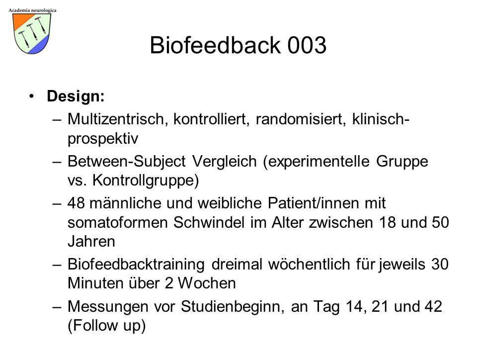 Biofeedback 003 Design: –Multizentrisch, kontrolliert, randomisiert, klinisch- prospektiv –Between-Subject Vergleich (experimentelle Gruppe vs. Kontro
