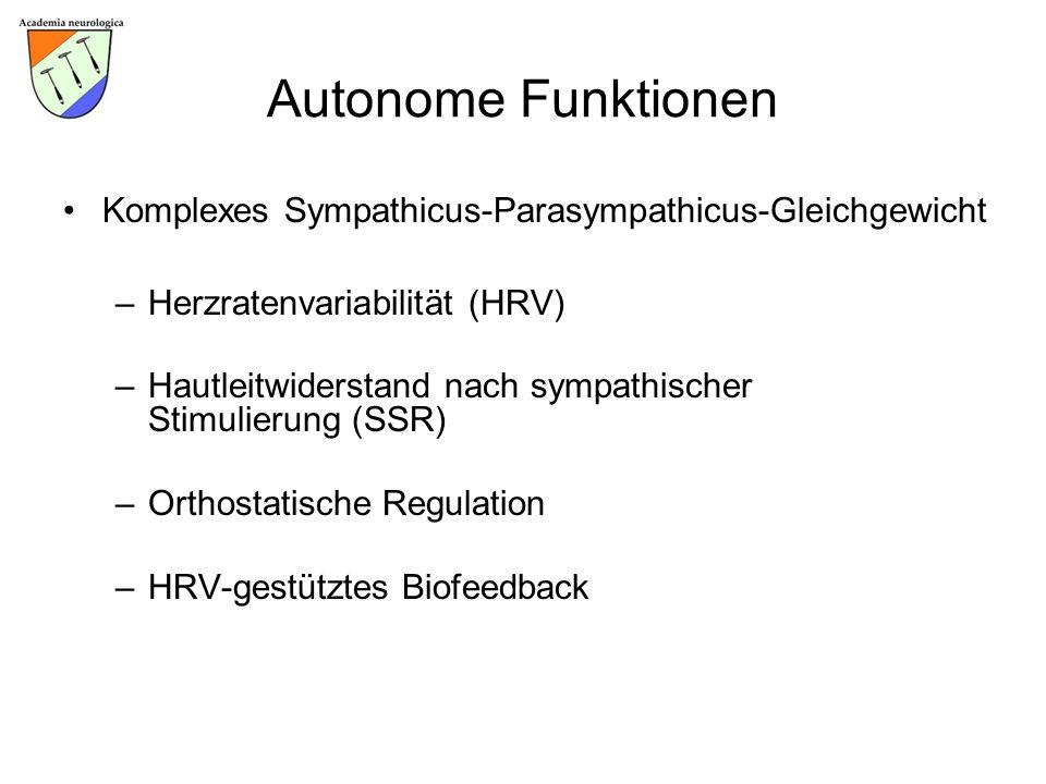 Autonome Funktionen Komplexes Sympathicus-Parasympathicus-Gleichgewicht –Herzratenvariabilität (HRV) –Hautleitwiderstand nach sympathischer Stimulieru