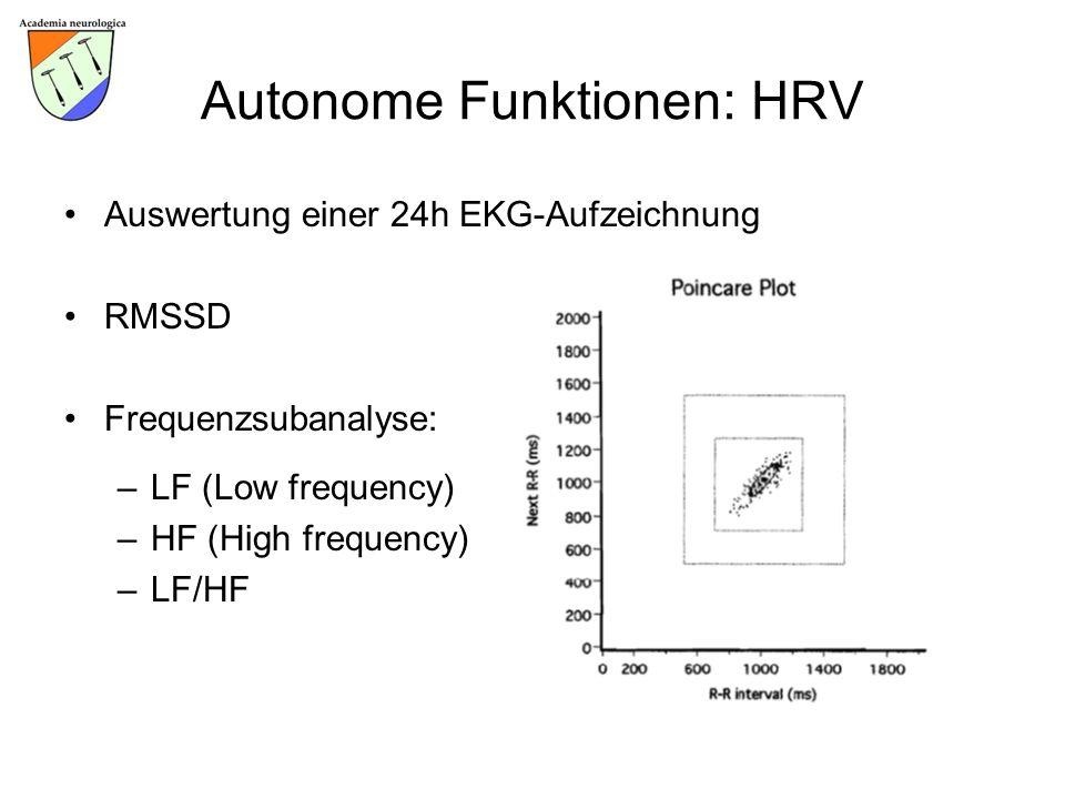 Autonome Funktionen: HRV Auswertung einer 24h EKG-Aufzeichnung RMSSD Frequenzsubanalyse: –LF (Low frequency) –HF (High frequency) –LF/HF