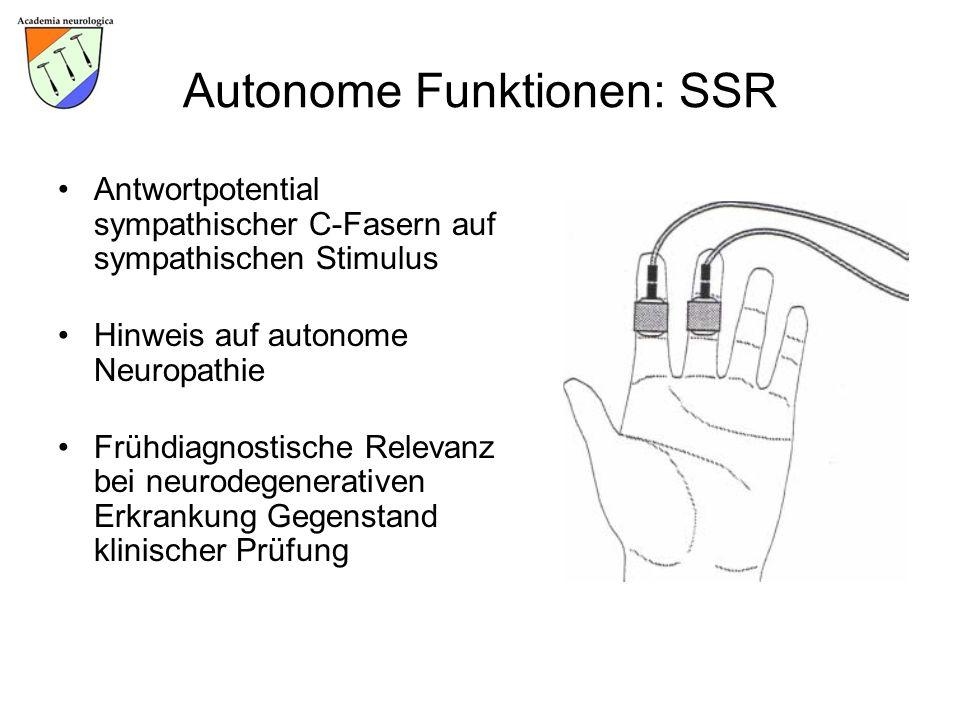 Autonome Funktionen: SSR Antwortpotential sympathischer C-Fasern auf sympathischen Stimulus Hinweis auf autonome Neuropathie Frühdiagnostische Relevan