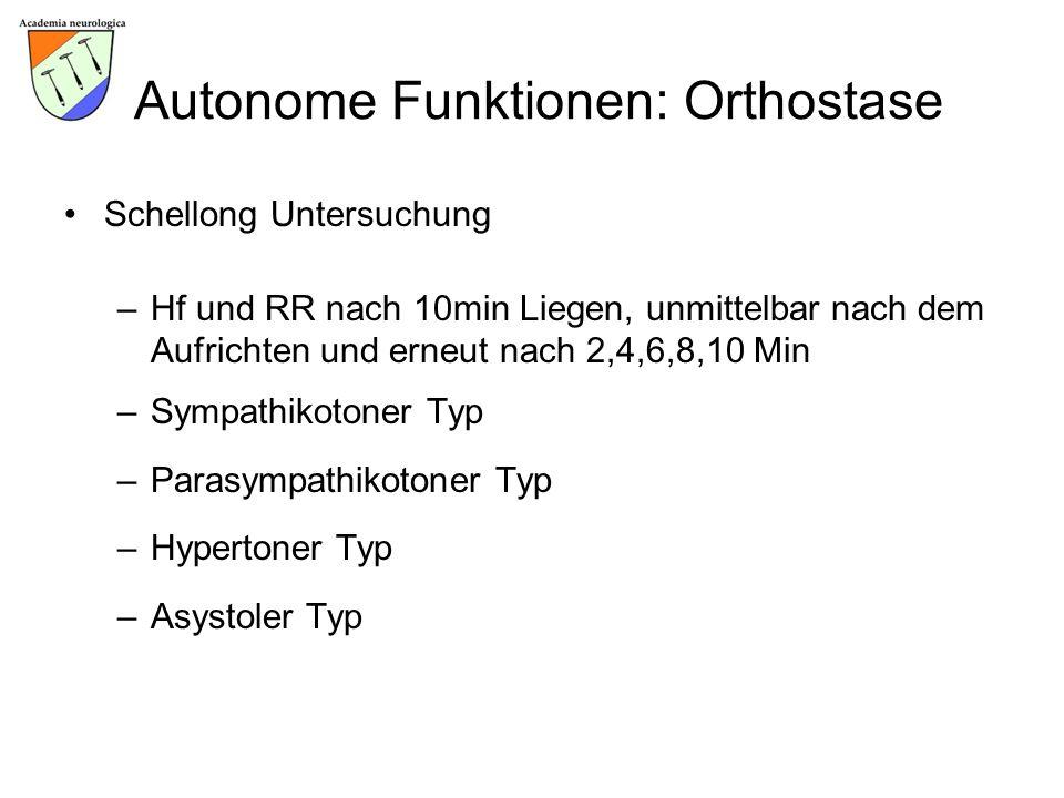 Autonome Funktionen: Orthostase Schellong Untersuchung –Hf und RR nach 10min Liegen, unmittelbar nach dem Aufrichten und erneut nach 2,4,6,8,10 Min –S