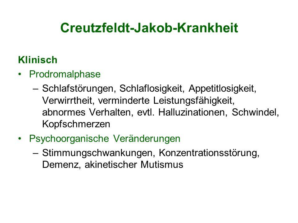 Creutzfeldt-Jakob-Krankheit Klinisch Prodromalphase –Schlafstörungen, Schlaflosigkeit, Appetitlosigkeit, Verwirrtheit, verminderte Leistungsfähigkeit,