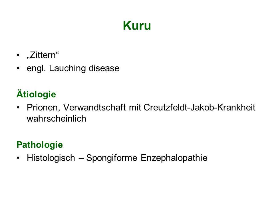 Kuru Zittern engl. Lauching disease Ätiologie Prionen, Verwandtschaft mit Creutzfeldt-Jakob-Krankheit wahrscheinlich Pathologie Histologisch – Spongif