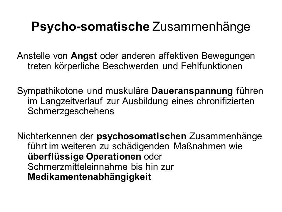 Psycho-somatische Zusammenhänge Anstelle von Angst oder anderen affektiven Bewegungen treten körperliche Beschwerden und Fehlfunktionen Sympathikotone