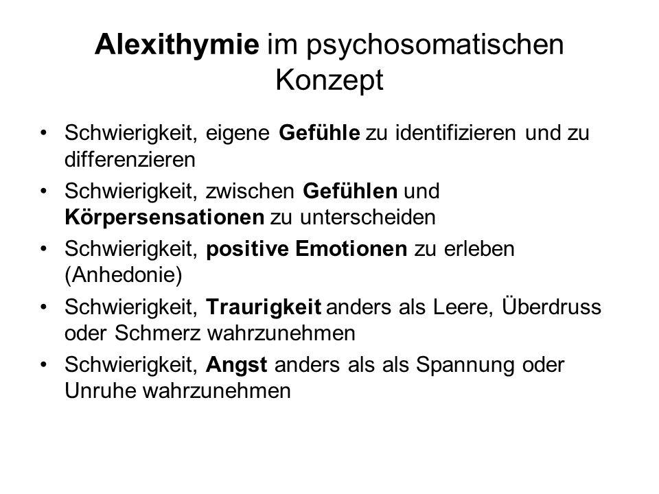 Alexithymie im psychosomatischen Konzept Schwierigkeit, eigene Gefühle zu identifizieren und zu differenzieren Schwierigkeit, zwischen Gefühlen und Kö