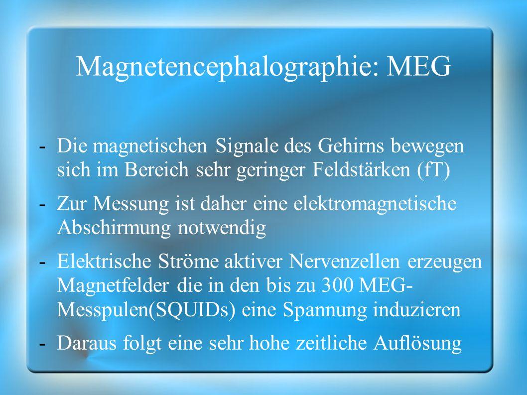 Magnetencephalographie: MEG -Die magnetischen Signale des Gehirns bewegen sich im Bereich sehr geringer Feldstärken (fT) -Zur Messung ist daher eine e