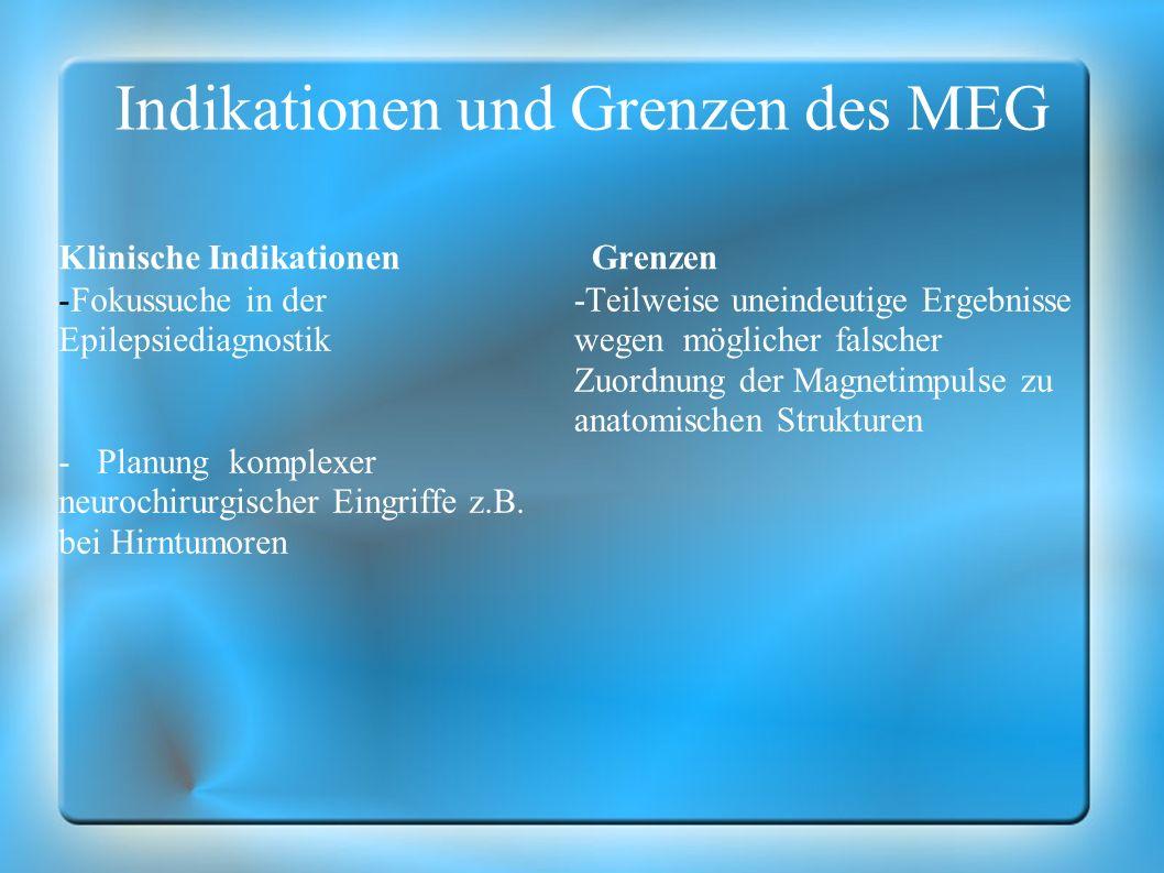 Indikationen und Grenzen des MEG Klinische Indikationen -Fokussuche in der Epilepsiediagnostik - Planung komplexer neurochirurgischer Eingriffe z.B. b