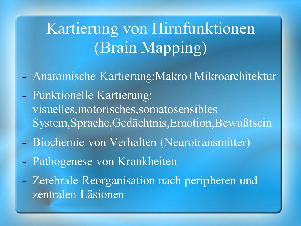 Kartierung von Hirnfunktionen (Brain Mapping) -Anatomische Kartierung:Makro+Mikroarchitektur -Funktionelle Kartierung: visuelles,motorisches,somatosen