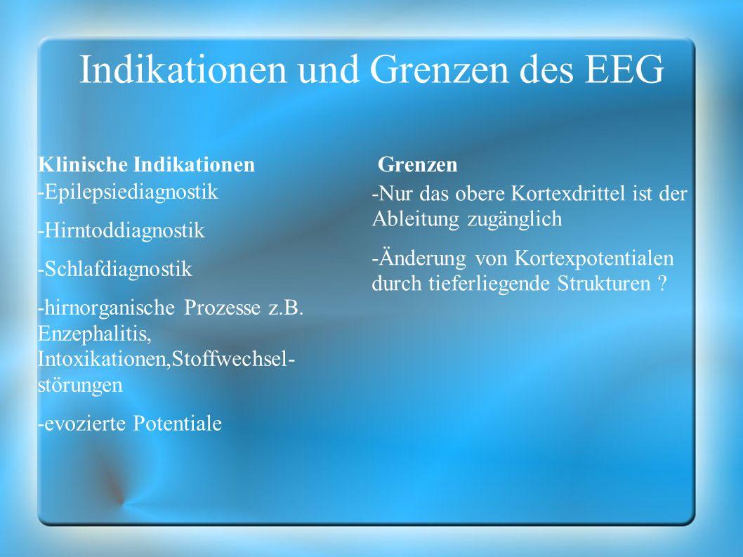 Indikationen und Grenzen des EEG Klinische Indikationen -Epilepsiediagnostik -Hirntoddiagnostik -Schlafdiagnostik -hirnorganische Prozesse z.B. Enzeph