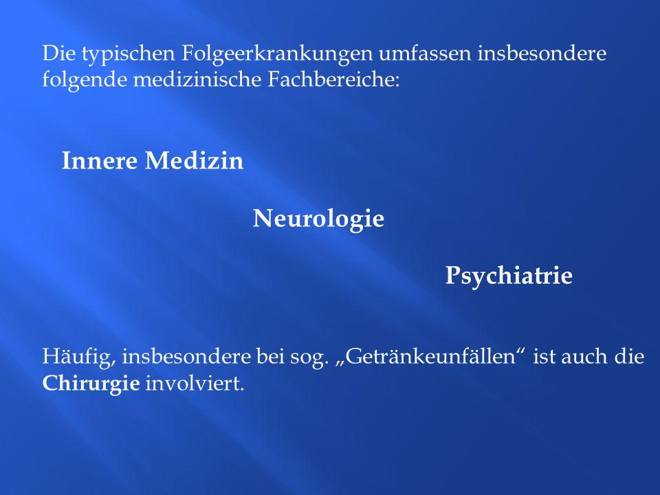 Die typischen Folgeerkrankungen umfassen insbesondere folgende medizinische Fachbereiche: Innere Medizin Neurologie Psychiatrie Häufig, insbesondere b