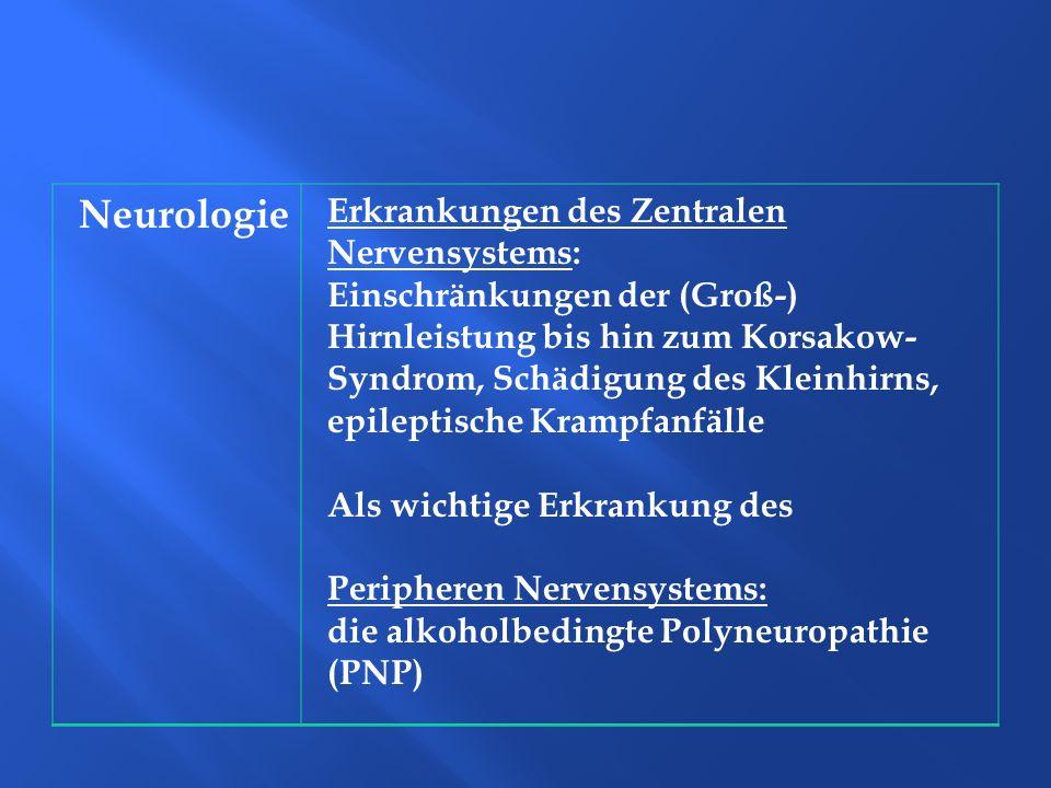Neurologie Erkrankungen des Zentralen Nervensystems: Einschränkungen der (Groß-) Hirnleistung bis hin zum Korsakow- Syndrom, Schädigung des Kleinhirns
