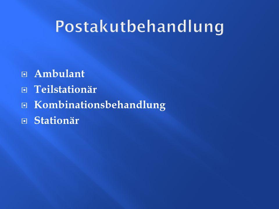 Postakutbehandlung Ambulant Teilstationär Kombinationsbehandlung Stationär