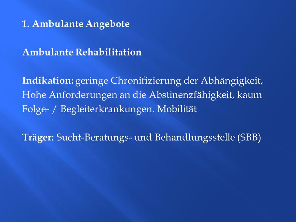 1. Ambulante Angebote Ambulante Rehabilitation Indikation: geringe Chronifizierung der Abhängigkeit, Hohe Anforderungen an die Abstinenzfähigkeit, kau
