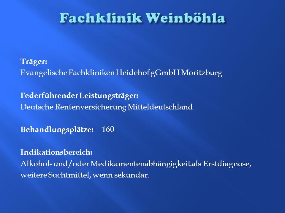 Träger: Evangelische Fachkliniken Heidehof gGmbH Moritzburg Federführender Leistungsträger: Deutsche Rentenversicherung Mitteldeutschland Behandlungsp