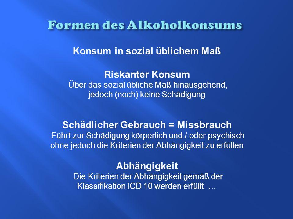 Konsum in sozial üblichem Maß Riskanter Konsum Über das sozial übliche Maß hinausgehend, jedoch (noch) keine Schädigung Schädlicher Gebrauch = Missbra