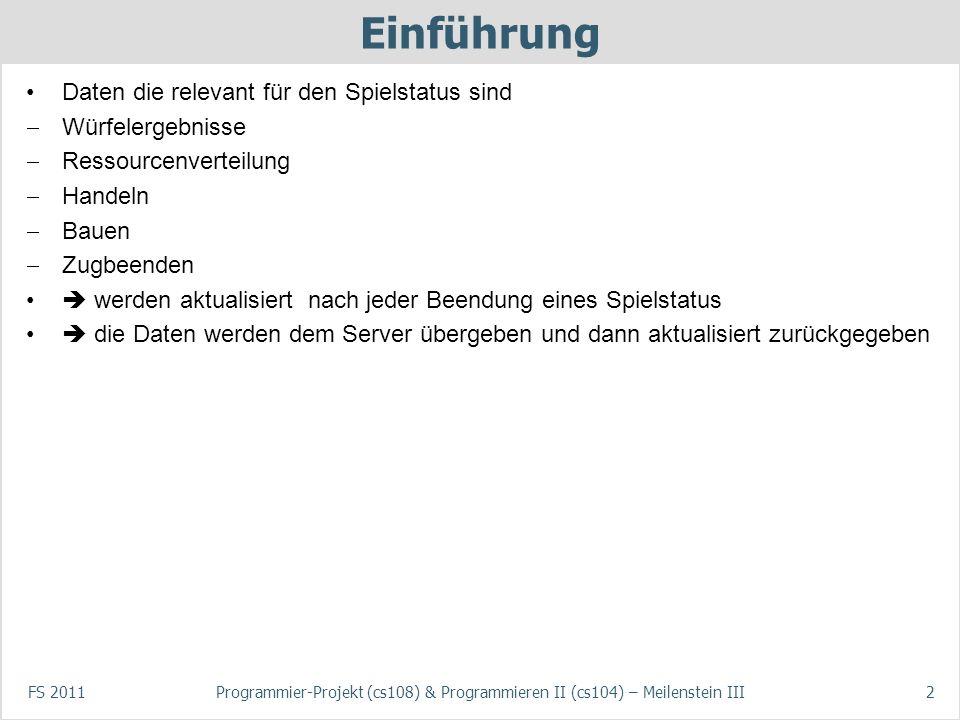FS 2011Programmier-Projekt (cs108) & Programmieren II (cs104) – Meilenstein III2 Einführung Daten die relevant für den Spielstatus sind Würfelergebnis