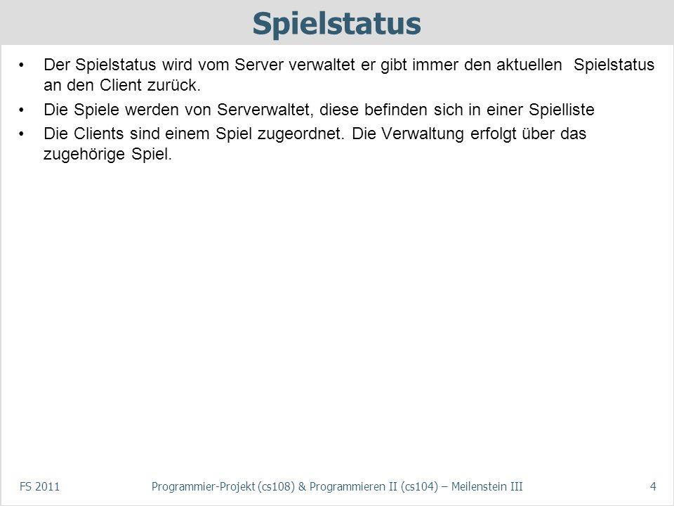 FS 2011Programmier-Projekt (cs108) & Programmieren II (cs104) – Meilenstein III4 Spielstatus Der Spielstatus wird vom Server verwaltet er gibt immer d