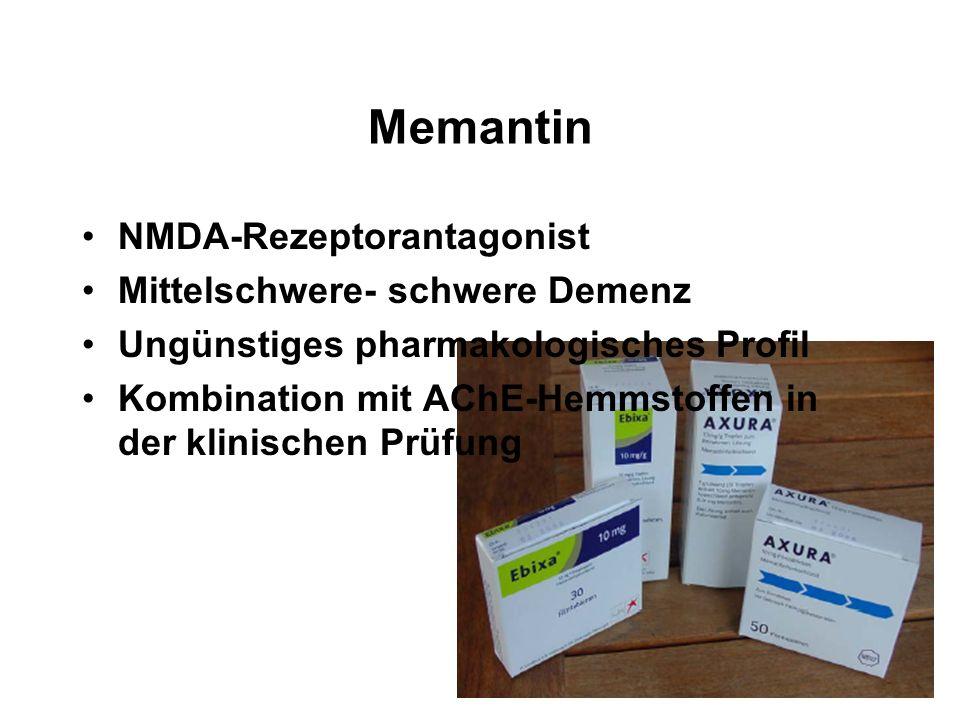 Memantin NMDA-Rezeptorantagonist Mittelschwere- schwere Demenz Ungünstiges pharmakologisches Profil Kombination mit AChE-Hemmstoffen in der klinischen