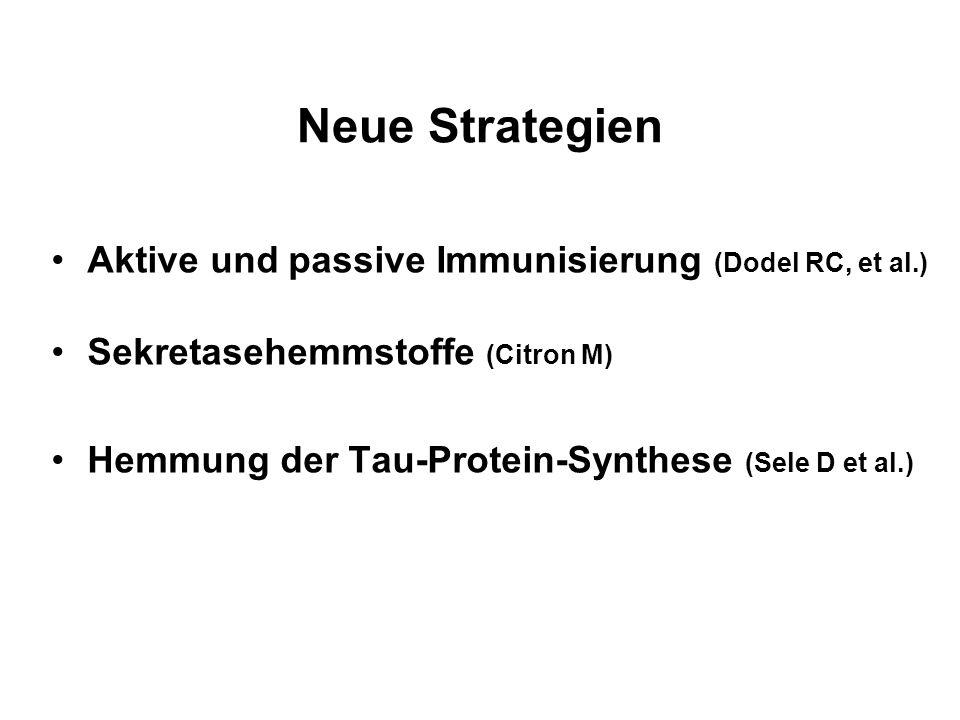 Neue Strategien Aktive und passive Immunisierung (Dodel RC, et al.) Sekretasehemmstoffe (Citron M) Hemmung der Tau-Protein-Synthese (Sele D et al.)