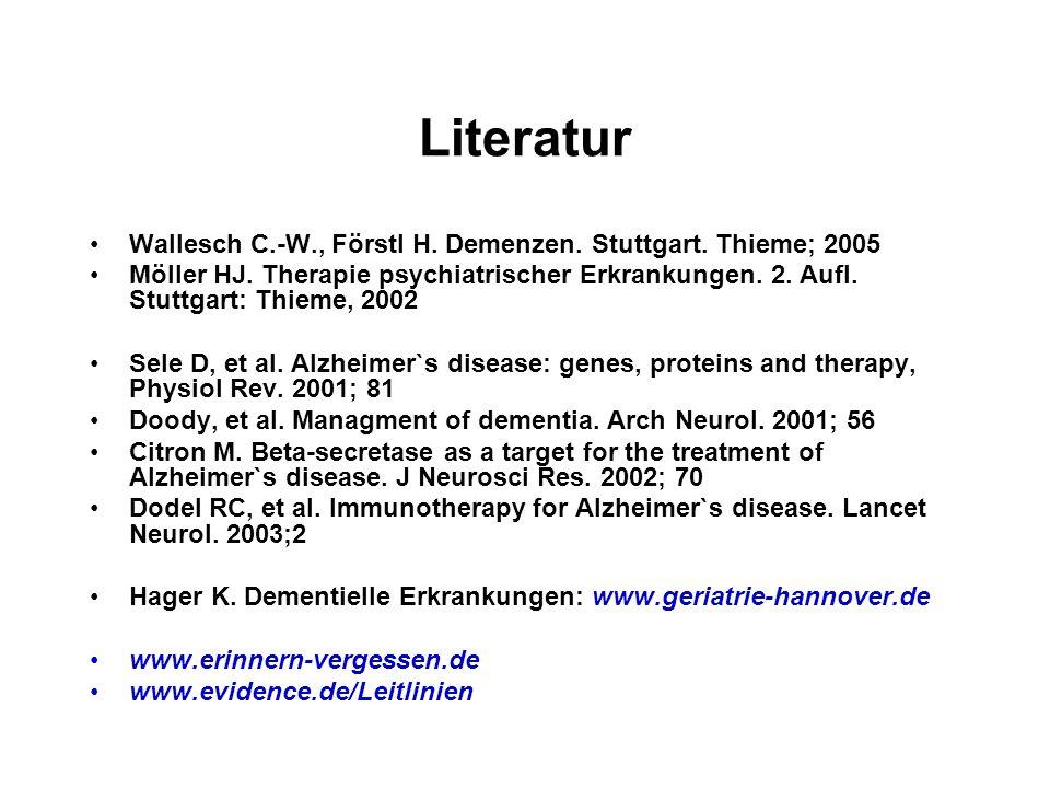 Literatur Wallesch C.-W., Förstl H. Demenzen. Stuttgart. Thieme; 2005 Möller HJ. Therapie psychiatrischer Erkrankungen. 2. Aufl. Stuttgart: Thieme, 20