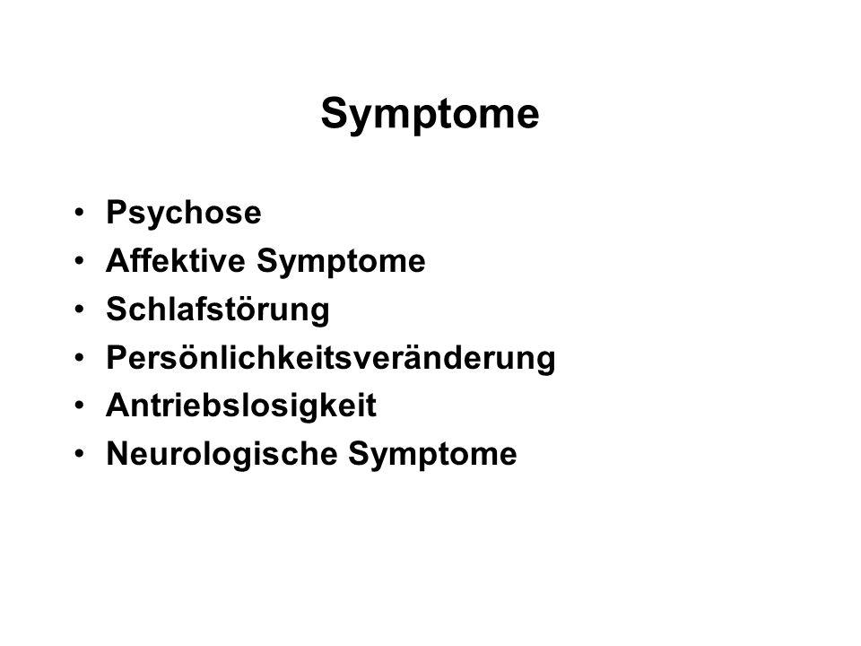 Symptome Psychose Affektive Symptome Schlafstörung Persönlichkeitsveränderung Antriebslosigkeit Neurologische Symptome