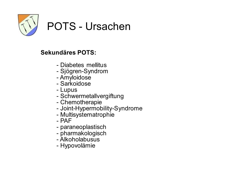 Sekundäres POTS: - Diabetes mellitus - Sjögren-Syndrom - Amyloidose - Sarkoidose - Lupus - Schwermetallvergiftung - Chemotherapie - Joint-Hypermobility-Syndrome - Multisystematrophie - PAF - paraneoplastisch - pharmakologisch - Alkoholabusus - Hypovolämie