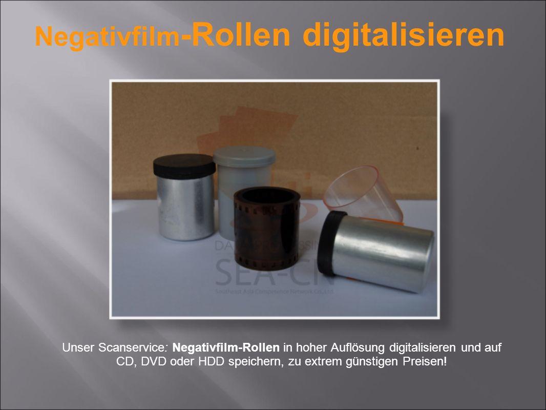 Unser Scanservice: Negativfilm-Rollen in hoher Auflösung digitalisieren und auf CD, DVD oder HDD speichern, zu extrem günstigen Preisen.