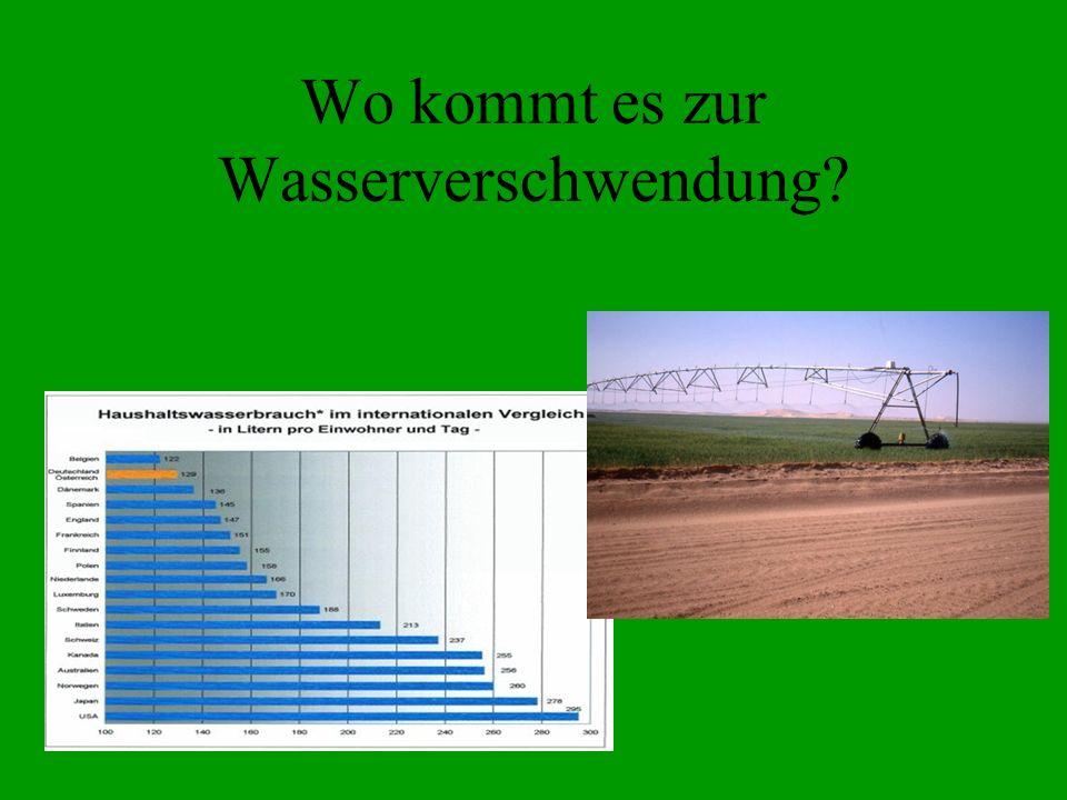 Wo kommt es zur Wasserverschwendung?