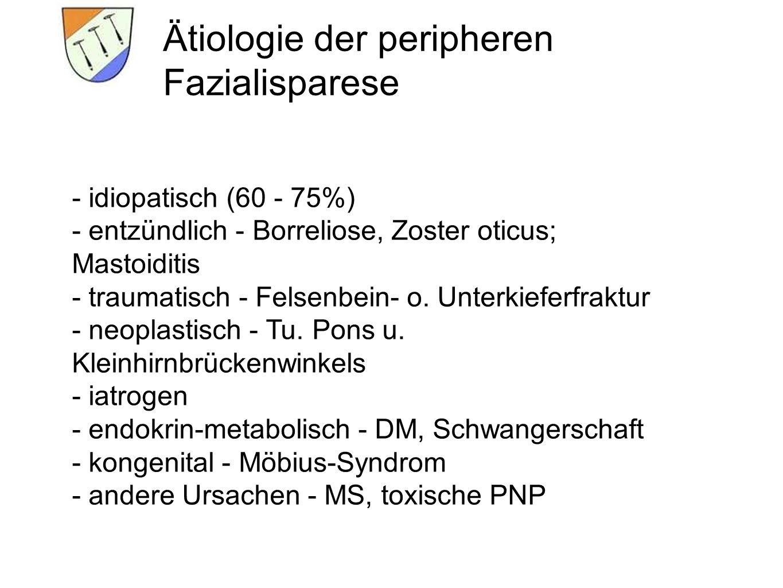 Ätiologie der peripheren Fazialisparese - idiopatisch (60 - 75%) - entzündlich - Borreliose, Zoster oticus; Mastoiditis - traumatisch - Felsenbein- o.
