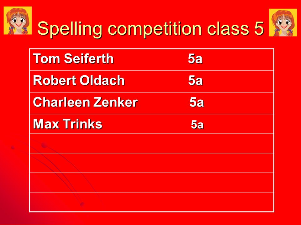 Spelling competition class 5 Tom Seiferth 5a Robert Oldach 5a Charleen Zenker 5a Max Trinks 5a