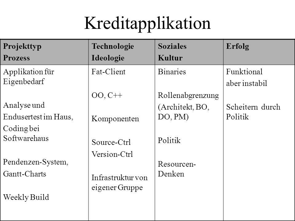 Kreditapplikation Projekttyp Prozess Technologie Ideologie Soziales Kultur Erfolg Applikation für Eigenbedarf Analyse und Endusertest im Haus, Coding
