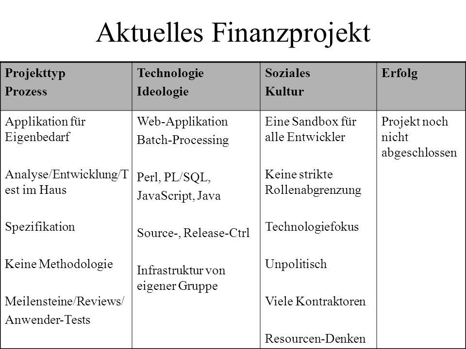 Aktuelles Finanzprojekt Projekttyp Prozess Technologie Ideologie Soziales Kultur Erfolg Applikation für Eigenbedarf Analyse/Entwicklung/T est im Haus