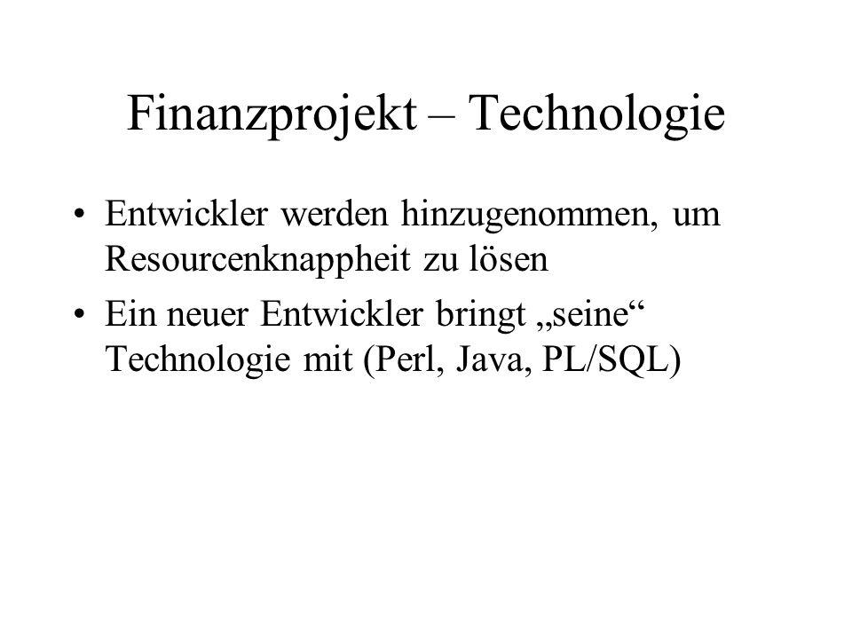 Finanzprojekt – Technologie Entwickler werden hinzugenommen, um Resourcenknappheit zu lösen Ein neuer Entwickler bringt seine Technologie mit (Perl, J