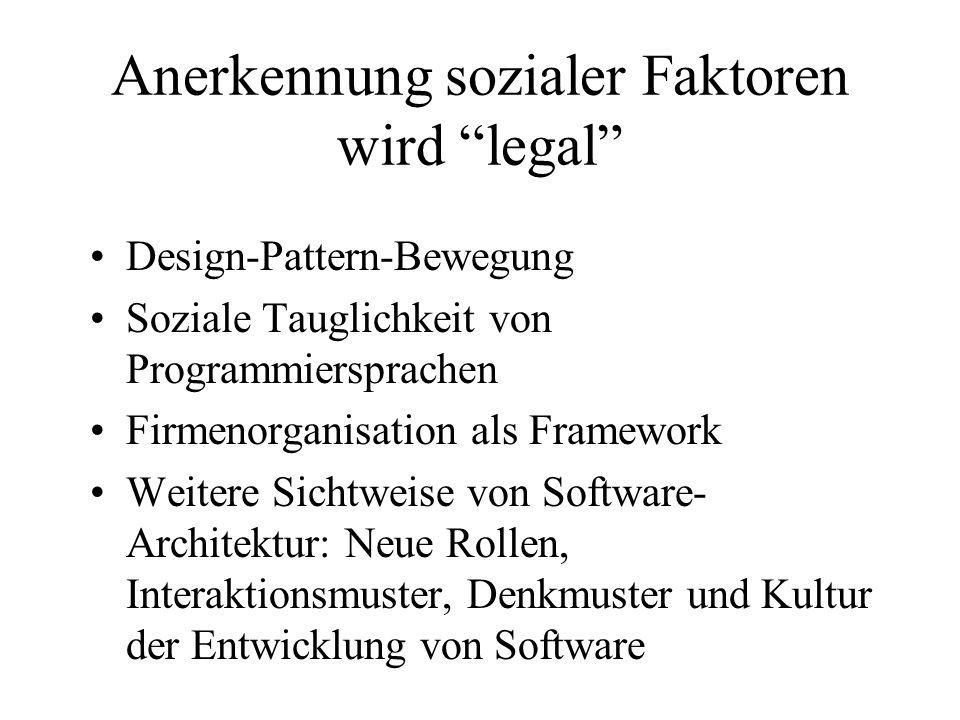 Anerkennung sozialer Faktoren wird legal Design-Pattern-Bewegung Soziale Tauglichkeit von Programmiersprachen Firmenorganisation als Framework Weitere