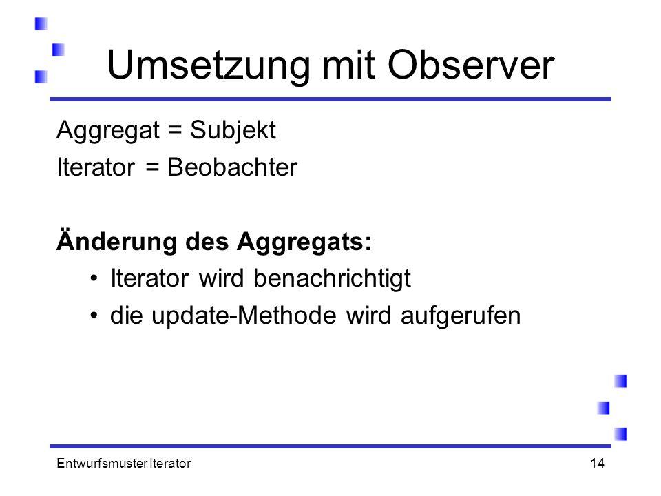 Entwurfsmuster Iterator14 Umsetzung mit Observer Aggregat = Subjekt Iterator = Beobachter Änderung des Aggregats: Iterator wird benachrichtigt die upd