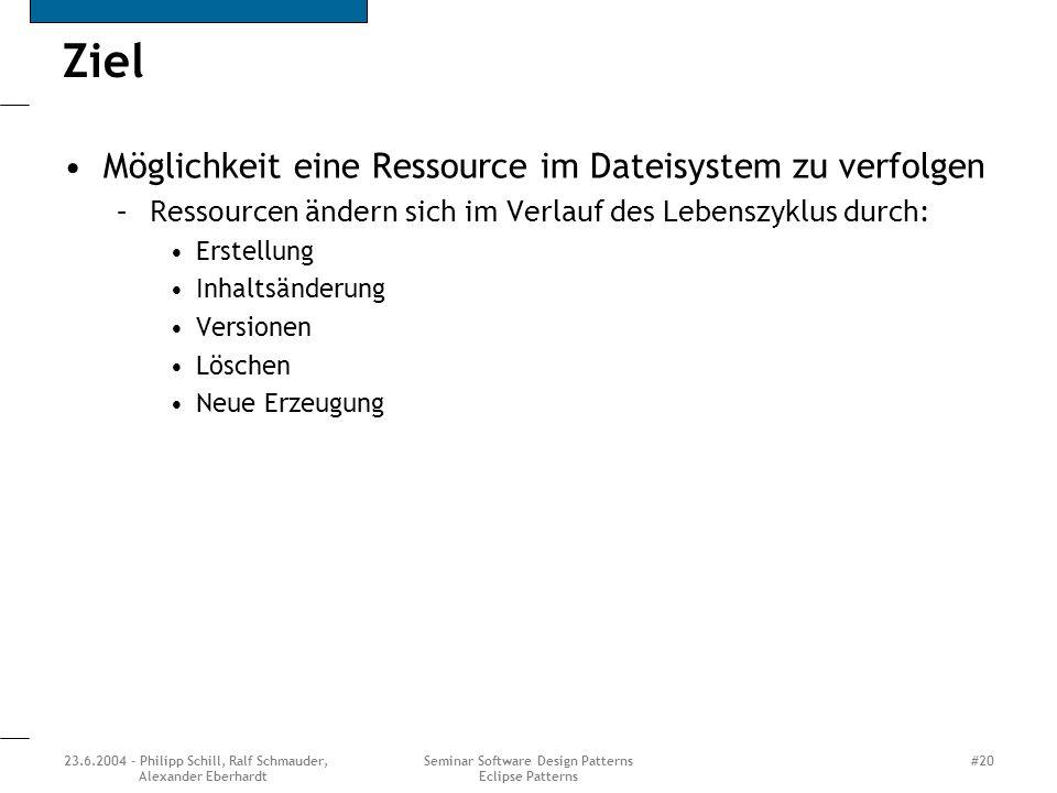 23.6.2004 - Philipp Schill, Ralf Schmauder, Alexander Eberhardt Seminar Software Design Patterns Eclipse Patterns #20 Ziel Möglichkeit eine Ressource im Dateisystem zu verfolgen –Ressourcen ändern sich im Verlauf des Lebenszyklus durch: Erstellung Inhaltsänderung Versionen Löschen Neue Erzeugung