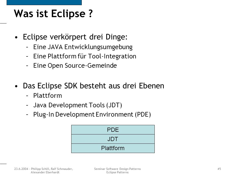 23.6.2004 - Philipp Schill, Ralf Schmauder, Alexander Eberhardt Seminar Software Design Patterns Eclipse Patterns #5 Was ist Eclipse ? Eclipse verkörp
