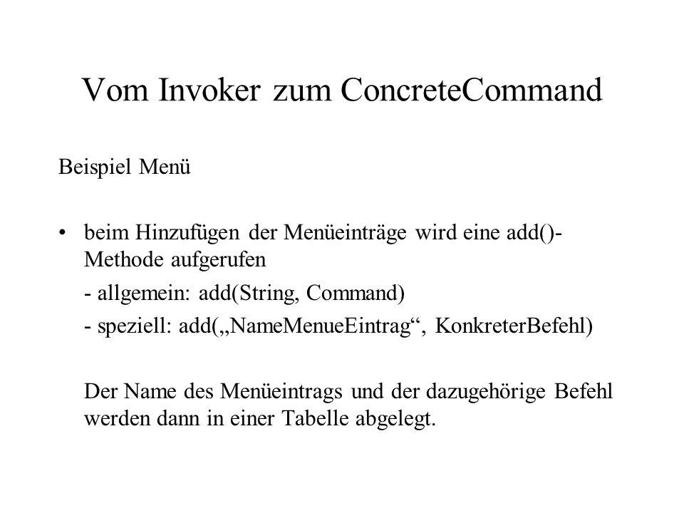Vom Invoker zum ConcreteCommand Beispiel Menü beim Hinzufügen der Menüeinträge wird eine add()- Methode aufgerufen - allgemein: add(String, Command) -