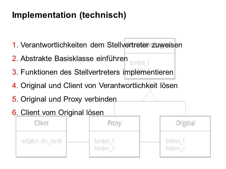 13 Implementation (technisch) 1.Verantwortlichkeiten dem Stellvertreter zuweisen 2.Abstrakte Basisklasse einführen 3.Funktionen des Stellvertreters im