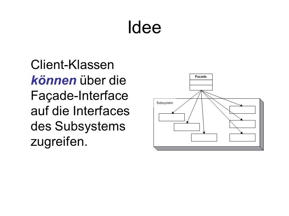 Idee Client-Klassen können über die Façade-Interface auf die Interfaces des Subsystems zugreifen.