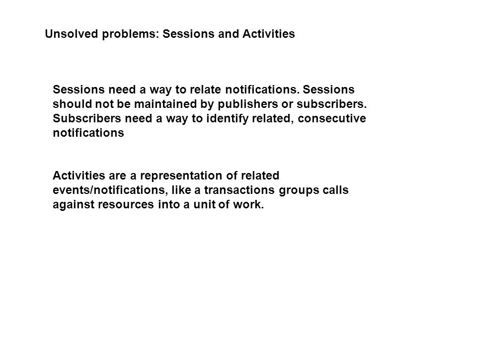 Unsolved problems: Sessions and Activities Sessions need a way to relate notifications.