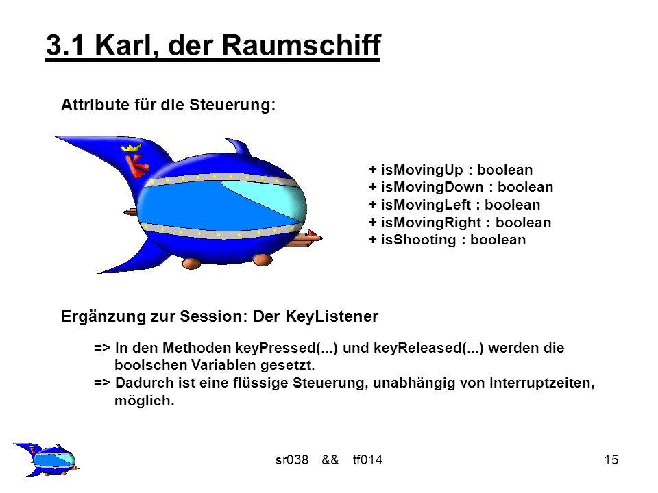 sr038 && tf01415 3.1 Karl, der Raumschiff Attribute für die Steuerung: + isMovingUp : boolean + isMovingDown : boolean + isMovingLeft : boolean + isMo