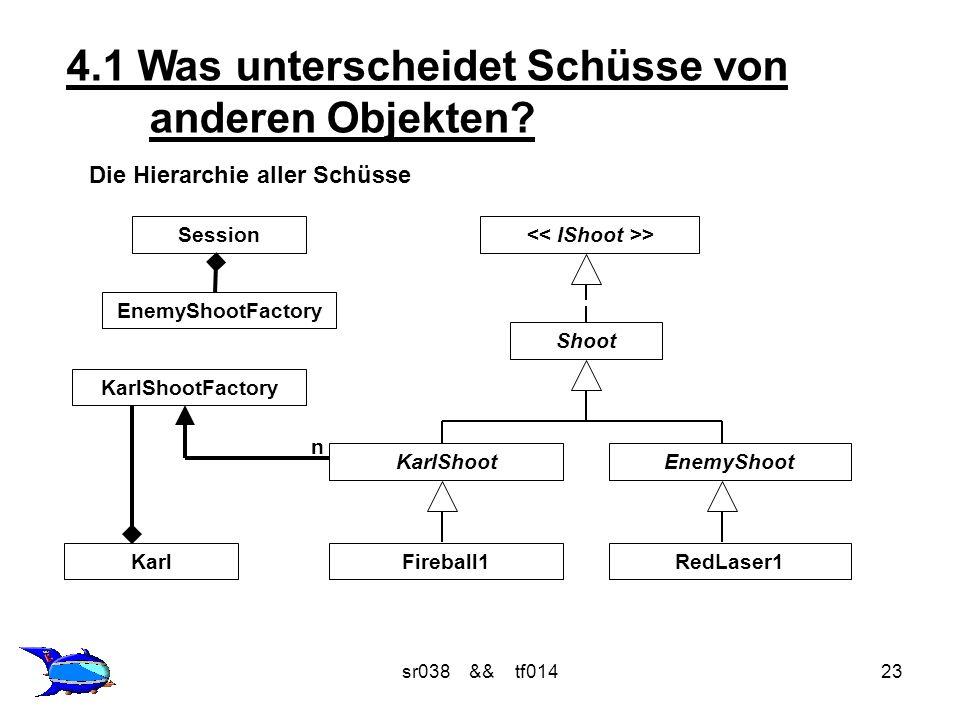 sr038 && tf01423 4.1 Was unterscheidet Schüsse von anderen Objekten? Die Hierarchie aller Schüsse > Shoot KarlShootEnemyShoot EnemyShootFactory Sessio