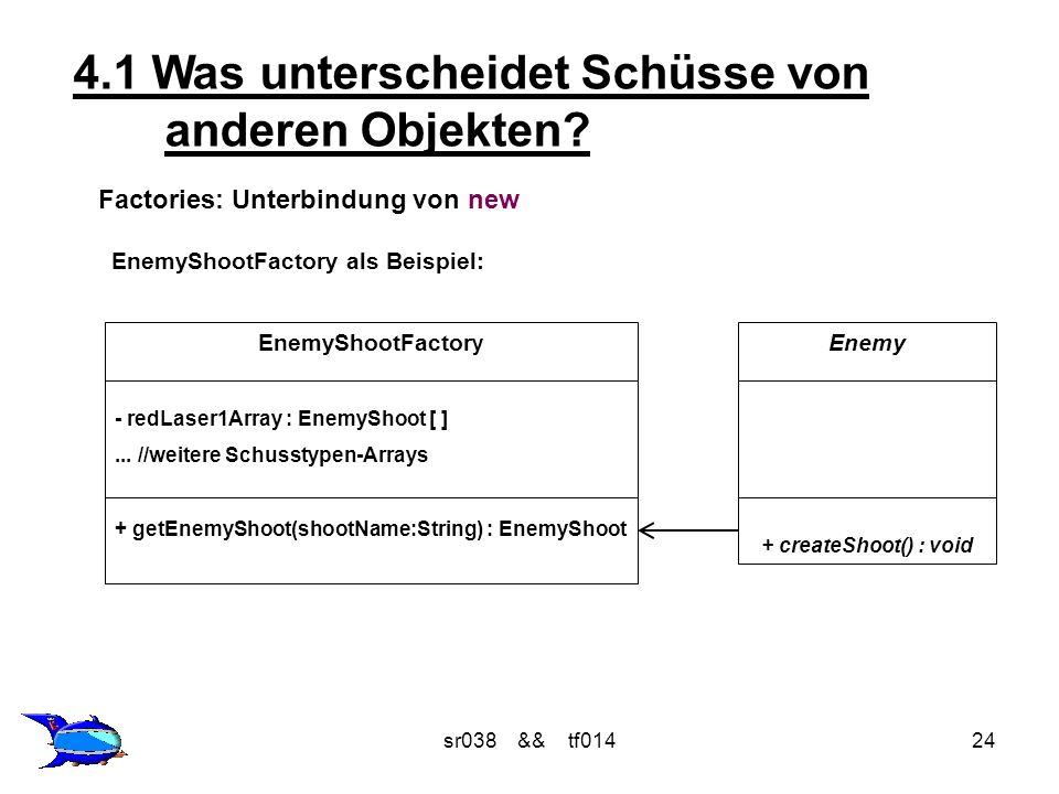 sr038 && tf01424 Factories: Unterbindung von new EnemyShootFactory als Beispiel: 4.1 Was unterscheidet Schüsse von anderen Objekten.