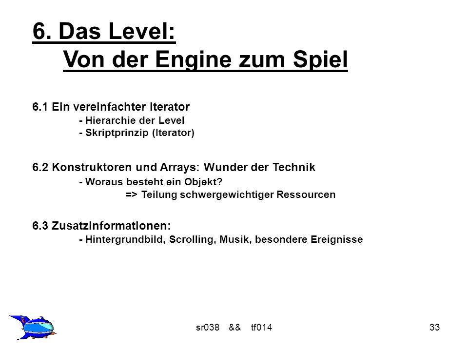 sr038 && tf01433 6. Das Level: Von der Engine zum Spiel 6.1 Ein vereinfachter Iterator - Hierarchie der Level - Skriptprinzip (Iterator) 6.2 Konstrukt