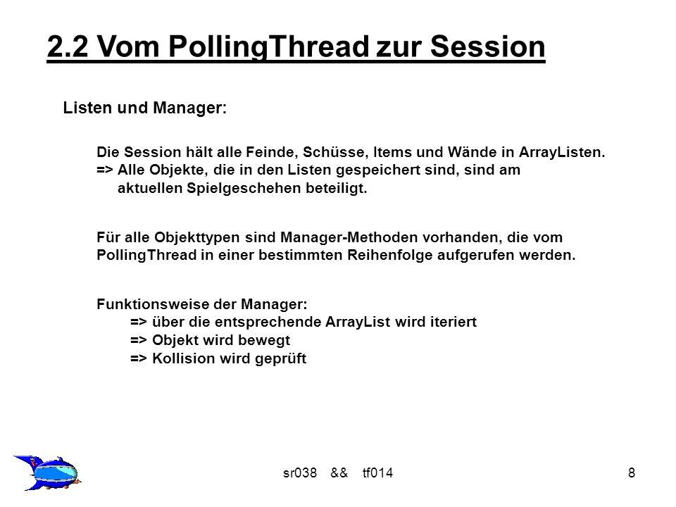 sr038 && tf0148 2.2 Vom PollingThread zur Session Listen und Manager: Die Session hält alle Feinde, Schüsse, Items und Wände in ArrayListen.