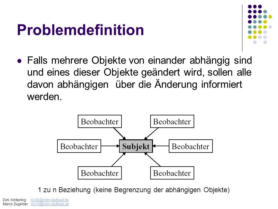 Problemdefinition Falls mehrere Objekte von einander abhängig sind und eines dieser Objekte geändert wird, sollen alle davon abhängigen über die Änder
