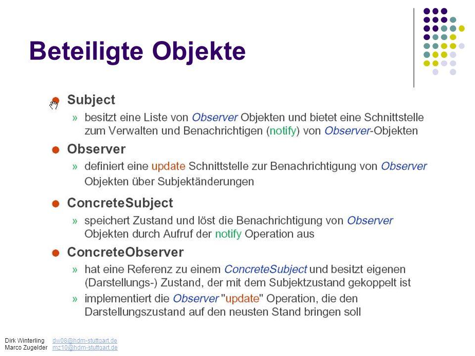 Beteiligte Objekte Dirk Winterlingdw08@hdm-stuttgart.dedw08@hdm-stuttgart.de Marco Zugeldermz10@hdm-stuttgart.demz10@hdm-stuttgart.de